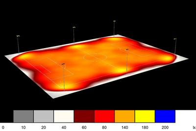 Ausgangsplan Lichtberechnung /Verteilung in Lux